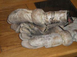 pair of vintage hockey gloves