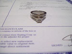 14K WHITE GOLD DIAMOND RING SET 1.0ct TOTAL DIAMOND WT.