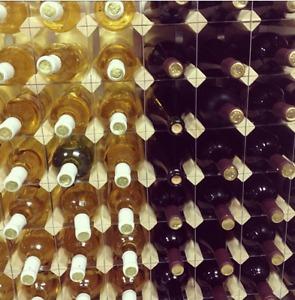 Brand new wine making kit, wine rack and 70 wine bottles