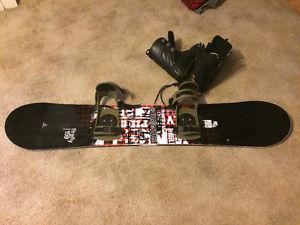 Snowboard, boots, bindings,helmet and googles