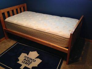 Solid Pine Twin Bed Frame and Springwall Mattress
