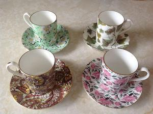 Unusual 4- Royal Albert Cups & Saucers Bone China-$