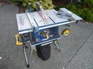 like new 10 inch table saw with stand and dust collection