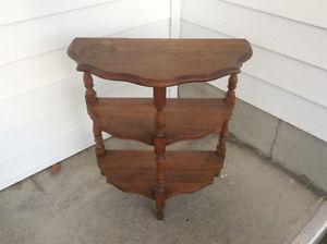 vintage 1/2 moon wooden table w/ 3 shelves