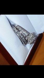 1.0 C white gold wedding ring set