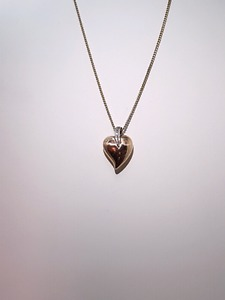 10k Box Link Chain with Heart Pendant