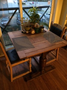 Antique oak table set with matching antique chairs - $130