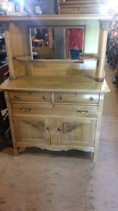 Antique side board with mirror