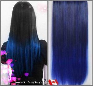 """Clip in hair extension, Straight hair,60 cm, 24"""",DARK BLUE"""