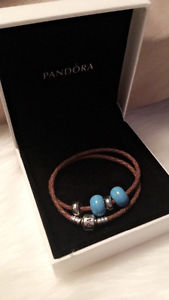Double wrap leather pandora bracelet AND charms