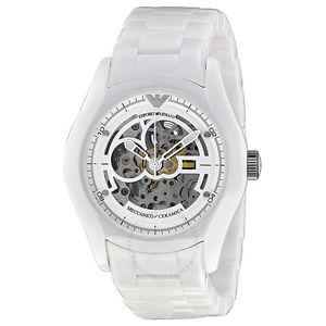 Emporio Armani White Ceramic Skeleton Watch Auto Chrono