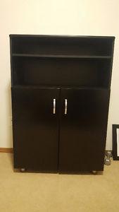 Like New Gloss Black Office Cabinet/Bookshelf