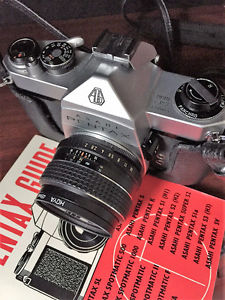 Pentax ASAHI SP Camera with zoom lens, flash, booklet &