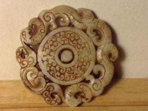 Vintage Chinese Carved Natural Jade Pendant