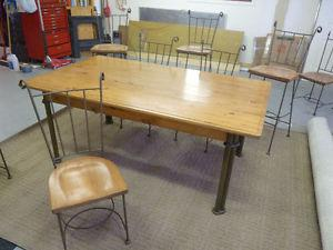 Wood and Wrought Iron Table and Chairs