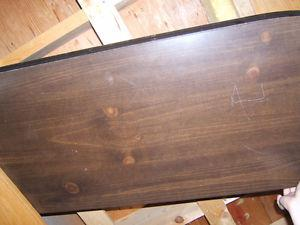 dark wood coffee table and two tiered side table