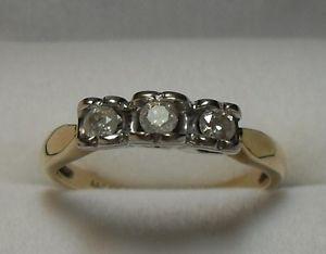 "10kt yellow gold ""Trinity"" Diamond Engagement Ring -"