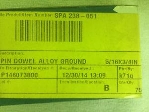 """75 pack of alloy ground 5/16"""" x 3/4"""" new dowel pins"""