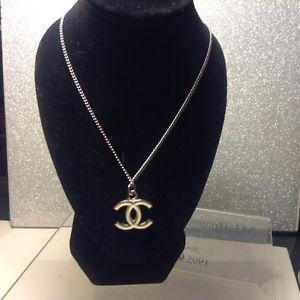 Authentic CHANEL Vintage CC Logos Silver Chain Pendant