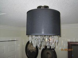 Crystal Chandelier with Black Linen Shade