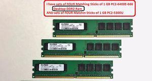 Desktop Computer DDR2 Ram For Sale. ONLY 1.0 GB Sticks.
