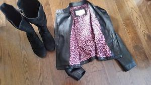 Girls Size 7/8 leather jacket and suede boots size 2
