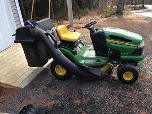 John Deere LA115 Lawn Tractor and Bagger