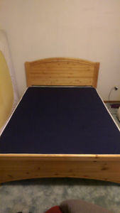 Soild wood double bed frame with mattress - great shape