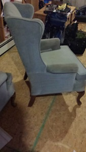 2 Kroehler custom crafted wing back chairs
