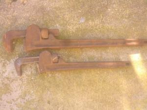 2 large Ridgid pipe wrenches for sale..