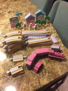 2 wooden train sets
