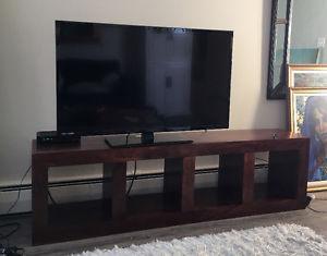 Espresso solid wood tv or bookshelf unit
