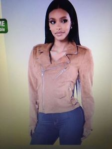 NEW SIZE SMALL/MED FAUX SUEDE MOTO JACKET TAUPE