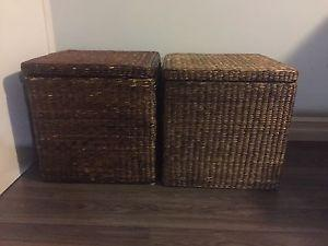 Wicker storage containers