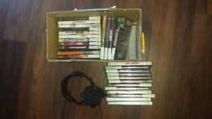 Xbox 360 with 2 controllers a turtle beach headset and 27