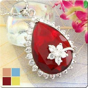 28mm Red Ruby Pear Cut Pendant Necklace