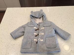 6-12 Month Grey Baby Winter Duffle Coat for Sale
