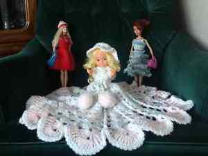 8 inch doll with pink and white dress, 2 Barbie dolls - 12