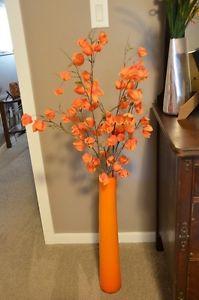 Floor Vase with Flowers - Orange