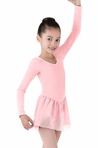 Girl's Long-sleeve pale pink Dance Leotard with Skirt size