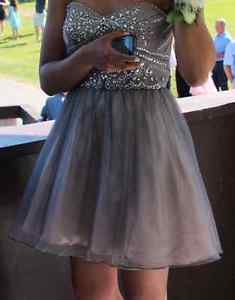 Girls Silver Grad Dress / Semi Dress / Prom Dress