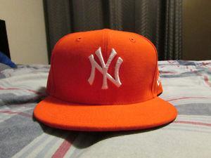 Orange New Era New York Yankees Hat Size 7 1/2