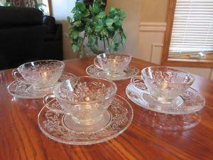 Princess House Fantasia Crystal Tea Cups & Saucers