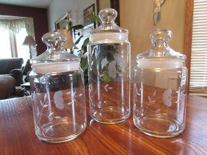Princess House Heritage Crystal Canisters, Storage Jar