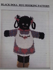 Rug Hooking Pattern Black Doll with Full Size Pattern Pieces