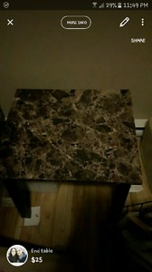 Two marble top end tables