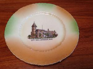 Vintage Old Brandon Mb. City Hall Souvenir Plate Austrian