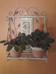 WROUGHT IRON SHELF WITH CLAY POTS