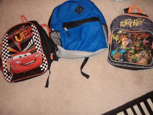 three kids back packs all clean and excellent condition 3.00