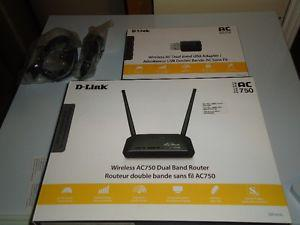 D-LINK wireless AC750 dual band router and usb adapter